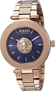 Versus by Versace Women's Brick Lane Quartz Watch with Gold-Plated-Stainless-Steel Strap, Rose, 9 (Model: VSP212617)