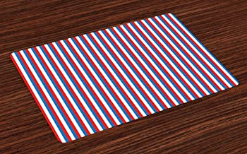 Ambesonne Harbour Stripe Place Mats Set of 4, Vertical Patriotic Colorful Contrast Toned American Colors, Washable Fabric Placemats for Dining Room Kitchen Table Decor, Vermilion Violet Blue White