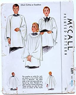McCall's 689 Choir Cottas or Surplices or Robes Vintage Sewing Pattern