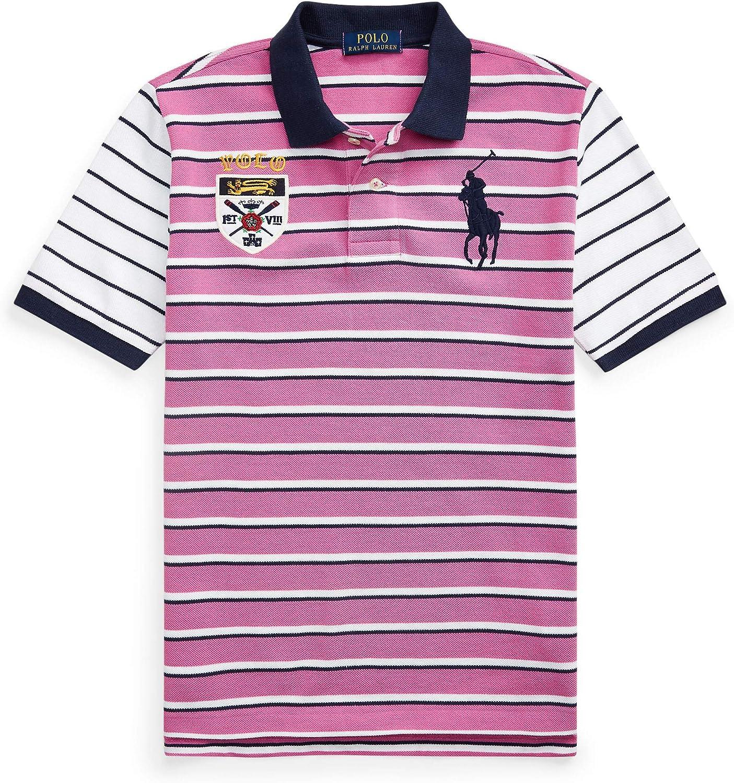 Polo Ralph Lauren Boy`s Big Pony Crest Stripe Mesh Cotton Polo Shirt