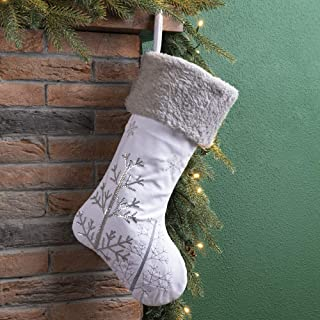 Glitzhome Christmas Stocking 21 Inches White Fleece Christmas Stocking with Christmas Tree Snowflake for Family Decoration...