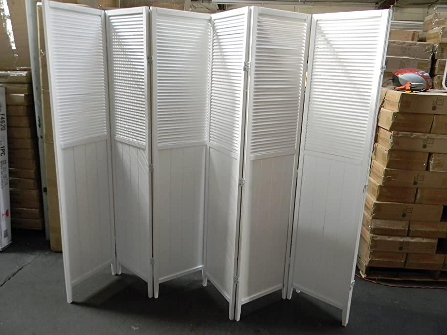 Wood Shutter Door 6-Panel Room Divider (White)