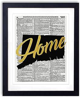Connecticut Home Gold Foil Art Print - Vintage Dictionary Reproduction Art Print