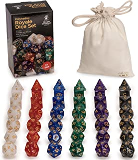Yellow Mountain Imports 42 Polyhedral Dice, 6 Colors with Complete Set of D4, D6, D8, D10 (00-90 and 0-9), D12, and D20