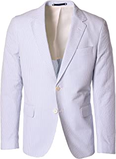 Blue and White Striped Seersucker Two Button Suit Top Made in America - Fountainbleau Sport Coat