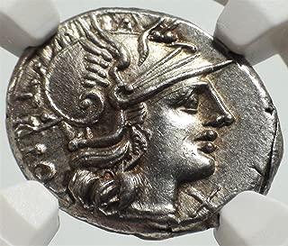 IT 136 BC Ancient Rome Roman Republic Authentic Antique Silver Coin AR Denarius Choice About Uncirculated NGC