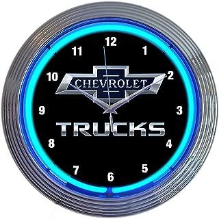 Chevrolet Chevy Trucks 100th Anniversary Blue Neon Clock 15 Inch Diameter with Blue Neon – 8CHVTK