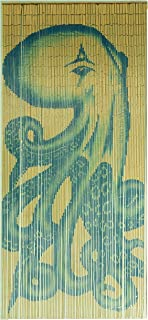 Tachilc Bamboo Door Bead Curtain Wall Art Window Treatment Room Divider – Octopus
