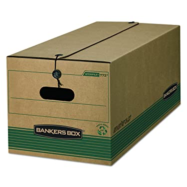 Bankers Box STOR/FILE Medium-Duty Storage Boxes, FastFold, String and Button, 100% Recycled, Letter, Case of 12 (00773)