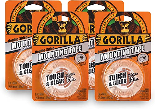 """discount Gorilla Tough & Clear Double Sided Mounting Tape, discount 1"""" x popular 60"""", Clear, (Pack of 4) online sale"""