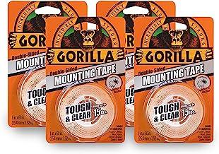"""Gorilla 6065001-4 Stoere & Clear Montage Tape, Dubbelzijdig, 1"""" x 60"""", Duidelijk, (Pack van 4), 4 Pack"""