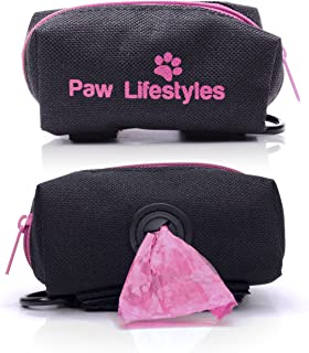 Paw Lifestyles Dog Poop Bag Holder Leash Attachment - Fits Any Dog Leash - Includes Free Roll of Dog Bags - Poop Bag Dispe...