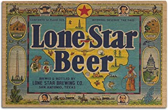 product image for Lantern Press Lone Star Brand - San Antonio, Texas - Beer Label (10x15 Wood Wall Sign, Wall Decor Ready to Hang)