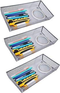 """صندوق تخزين درج شبكي من Finnhomy صناديق تخزين لوازم مدرسية حامل مكتب خزانة فضية 6 """"x 12"""" - 3 حزم"""