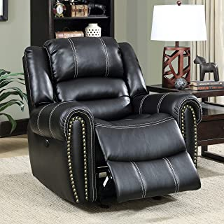 Dylan Contemporary Black Power-Assist Recliner by Foa Modern Transitional Solid Faux Leather Foam Wood Nailheads Power Recline