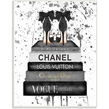 White 10 x 15 Stupell Industries Glam Fashion Heals with Bookstack and Pink Stripes Wall Art