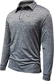 Oyamiki Men's Long Sleeve Polo Shirt Casual Quick Dry Athletic Designed Golf T Shirts