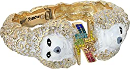 White and Gold Poodle Hinge Bangle