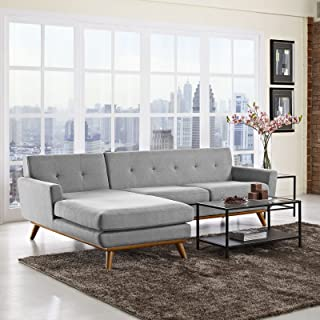 Modway Engage Mid-Century Modern Upholstered Fabric Left-Facing Sectional Sofa In Expectation Gray