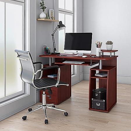 "Techni Mobili Complete Computer Workstation Desk With Storage, Mahogany, 48"" W x 22"" D x 34"" H"