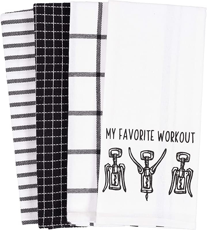 KAF Home Pantry My Favorite Wine Workout Kitchen Dish Towel Set Of 4 18 X 28 Inch