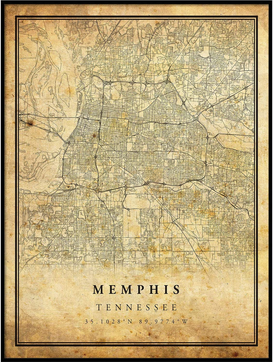 Memphis map Vintage Style Poster Print | Old City Artwork Prints | Antique Style Home Decor | Tennessee Wall Art Gift | Old map Print 11x14