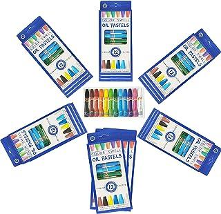 Color Swell Bulk Oil Pastels 18 بسته از 12 عدد (در مجموع 216 عدد) رنگ های پر جنب و جوش کیفیت معلم با دوام برای خانواده ها کلاس های حزب مهمانی