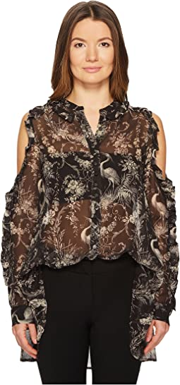 Birdy-Print Top with Asymmetrical Shoulders