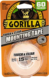 Gorilla Tough & Clear Mounting Tape, Double-sided, 2.5cm X 150cm, Clear