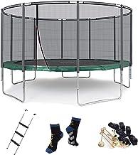 Ampel 24 outdoor trampoline 430 cm groen compleet met extern net, stabiliteitsring, beklede stangen, ladder & windbescherm...