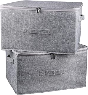 Foldable Storage Bin Cube with Lids, 2 Pack Collapsible Fabric Storage Box Organizer with Handle, Storage Basket Containers for Home Closet Shelves Office Nursery (Grey, Medium)