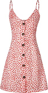 Womens Dresses V-Neck Button Down Spaghetti Strap Bow Tie Party Club Dresses