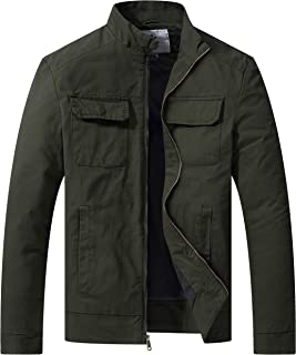 WenVen Men's Fall Casual Army Lightweight Jacket