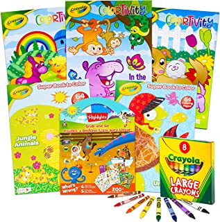 Crayola Coloring Books for Kids Toddlers Crayola Learning Set Bundle - 13 Pc Crayola Animal Coloring Activity Books with C...