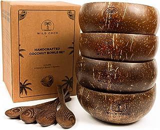Wild Coco Coconut Bowls And Spoons - Set of 4 - 100% Natural Handmade Vegan Wooden Bowls - Polished Buddha Bowl Premium Ki...
