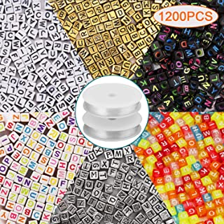 AIEX 1200 Pieces 6 Colors Letter Beads 6 x 6mm Acrylic Alphabet Letter Beads with 2 Roll Crystal Elastic String Cord for DIY Jewelry Bracelet Necklace Making
