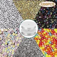 AIEX 1200 Unidades 6 Colores Carta de Perlas 6 x 6mm Alfabeto de Acrílico Carta Perlas con 2 Rollos de Cristal Elástico Cuerda de Cuerda para DIY Joyería Pulsera Fabricación de Collar