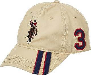 يو. اس. بولو اسوسييشن قبعة بيسبول بولو هورس للرجال مع غطاء بتصميم اشرطة قطرية