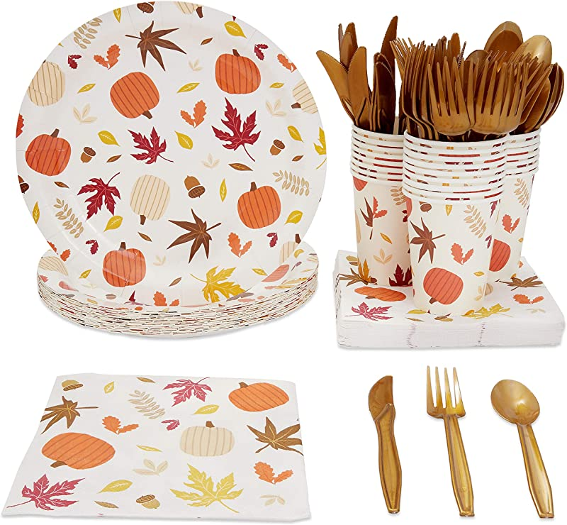 Disposable Dinnerware Set Serves 24 Thanksgiving Party Supplies Fall Themed Celebrations Autumn Leaves Design Includes Plastic Knives Spoons Forks Paper Plates Napkins Cups