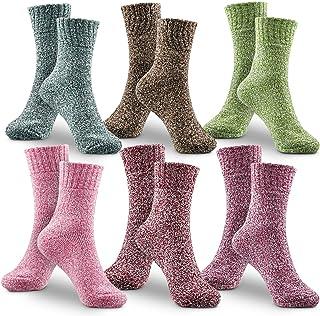 WOSTOO Vinterstrumpor, premium kvalitet 6-pack tjocka stickade strumpor i bomull kvinnor färgglada färger bomullsstrumpor ...