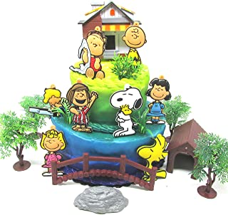 Peanuts Charlie Brown 18 Piece Birthday Cake Topper Set Featuring Charlie Brown, Lucy, Snoopy, Linus, Peppermint Patty, Schroeder, Woodstock and More