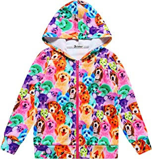 Girls Zip Up Hoodie Jacket Unicorn/Cat Sweatshirt with Pockets