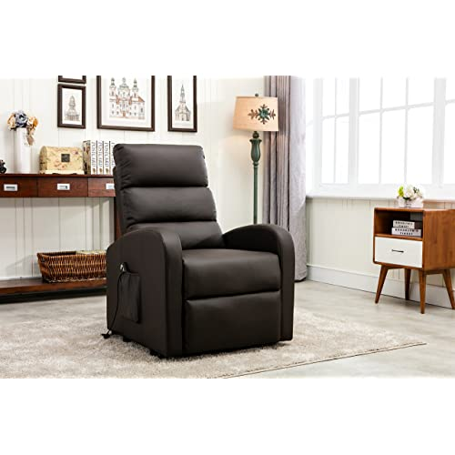 Divano Roma Furniture Classic Plush Bonded Leather Power Lift Recliner Living Room Chair (Brown)