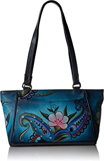 Women's Leather Small Tote Handbag, Hand-Painted Original Artwork, Denim Paisley Floral