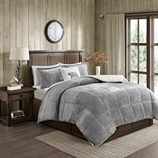 Woolrich Alton Ultra Soft Plush to Sherpa Berber Down Alternative Cold Weather Winter Warm Comforter Set Bedding, Full/Queen, Grey/Ivory