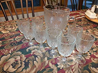 Vintage Jeanette Glass Iris & Herringbone Set of 9 - One Pitcher with 8 Glasses