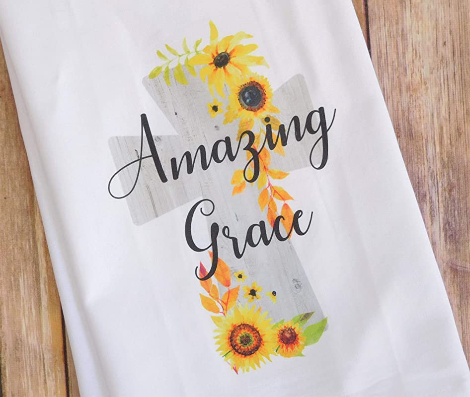 Kitchen Dish Towel Amazing Grace Cross With Sunflowers