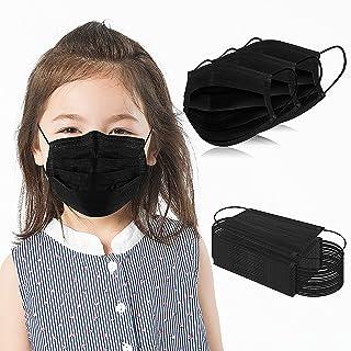 ماسک صورت یکبار مصرف بچه ها 3 لایه محافظ 100 عدد مشکی ماسک ایمنی تنفس مشکی برای پسران دختر با گیره بینی قابل تنظیم و حلقه گوش الاستیک ، مناسب برای مدرسه/کودکستان/مسافرت