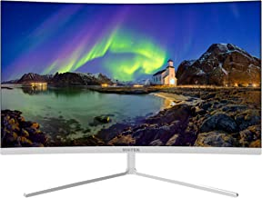 VIOTEK NB27CW 27-Inch LED Curved Monitor with Speakers, Bezel-Less Samsung VA Panel, 75Hz 1080P Full-HD FreeSync VGA HDMI VESA, Updated Version (White)