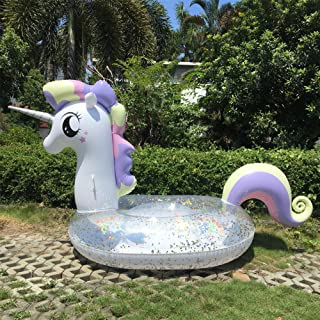 Inflatable Unicorn Pool Float Glitter, Giant Unicorn Pool raft Sparkles for Water Leisure,Summer Beach Swimming Pool Party Lounge Raft Decorations Toys Kids Adults 96x43 x 49 inches (Huge Size)